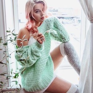 NWOT Free People Cable Knit Green Sweater Medium